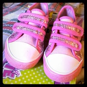 Like New - Minnie Mouse Pink Velcro Sneakers